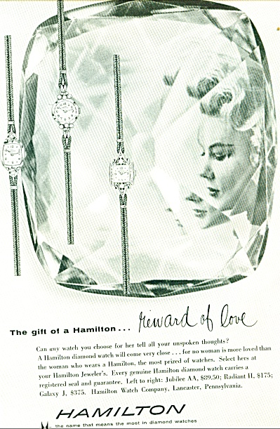 1958 Hamilton Watch Ad Models Original
