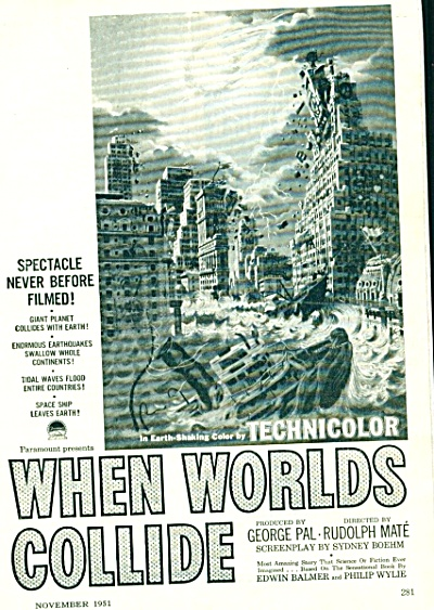 1951 When World's Collide Movie Ad Original