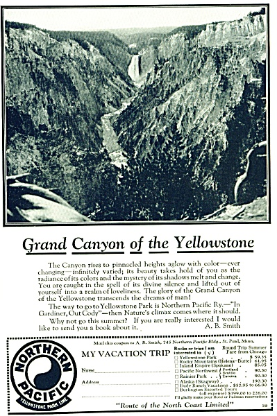 1927 NORTHERN PACIFIC RAILROAD TRAIN  Ad (Image1)