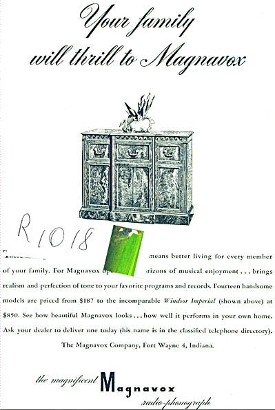 1948 Magnavox RADIO Phonograph AD (Image1)