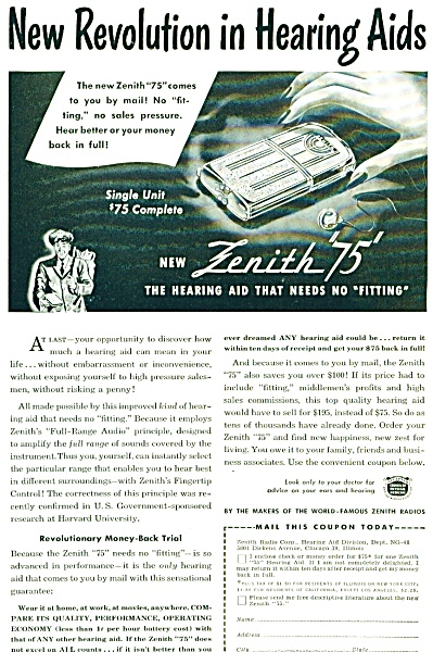 1948 New Zenith 75 Hearing Aid Aids Ad