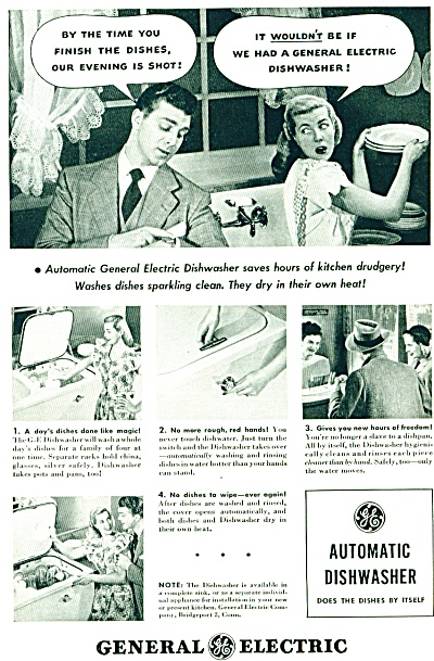 1948 General Electric Ad  AUTOMATIC DISHWASHER (Image1)