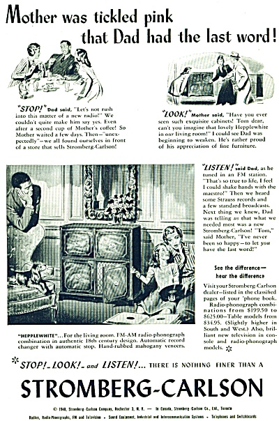 1948 Stromberg  - Carlson Radio Phonograph AD Tickled  (Image1)