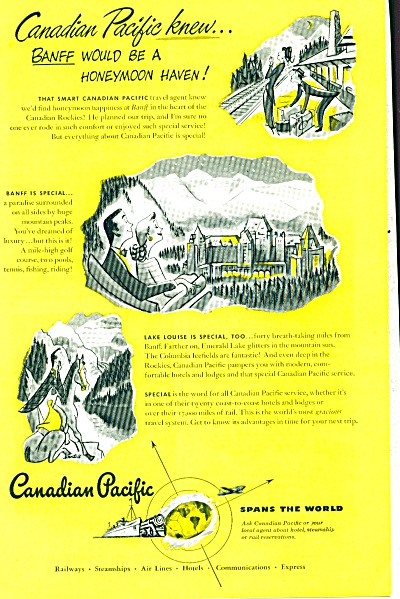1948 Canadian Pacific Ad Railroad BANFF Lake (Image1)