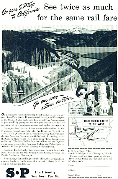 1948 Southern Pacific RAILROAD TRAIN AD (Image1)