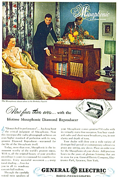 1948 MUSAPHONIC RADIO General Electric Ad (Image1)