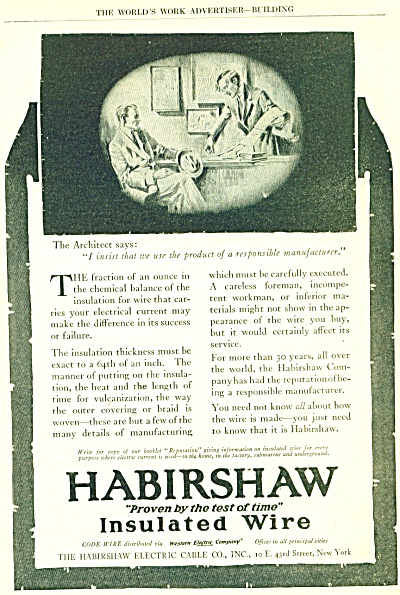 1900'S EARLY HABIRSHAW INSULATED WIRE AD (Image1)