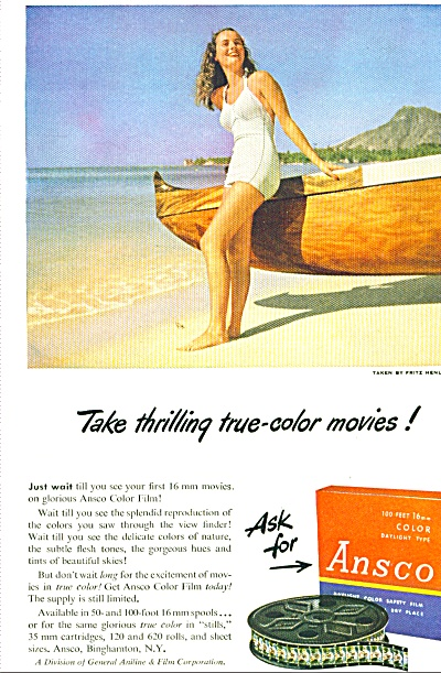 1948 Ansco Film WOMAN SWIMSUIT on BEACH AD (Image1)