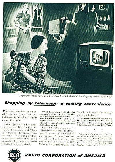 1948 Rca Radio Corporation Of America Tv Ad