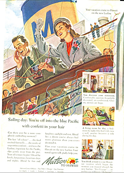 1948 Matson Lines Office Cruise Ship Ad