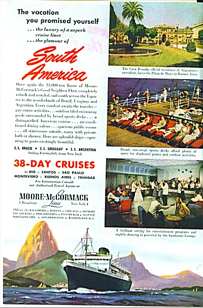 1948 Moore- McCormack SAILING SHIP Lines  Ad (Image1)