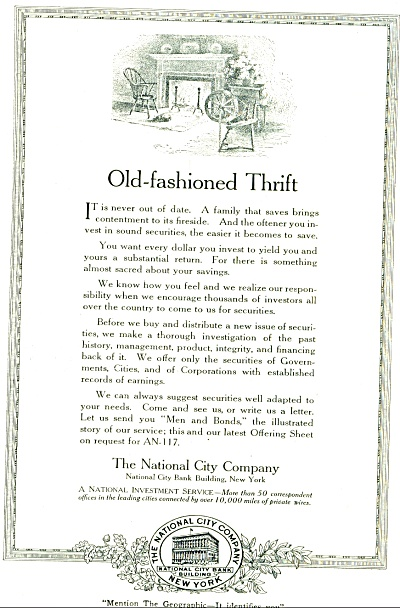 1920 National City INVESTMENT Company AD (Image1)