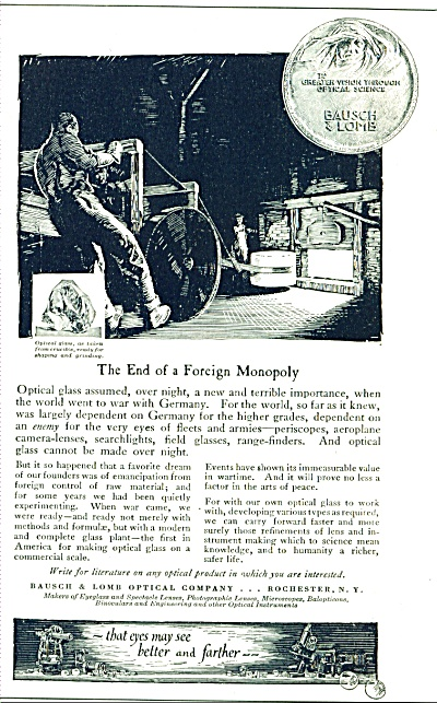 1920 Bausch & Lomb Optical GLASS Monopoly AD (Image1)