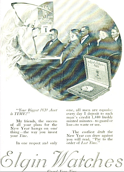 1920 Elgin Wrist Watch Watches Ad