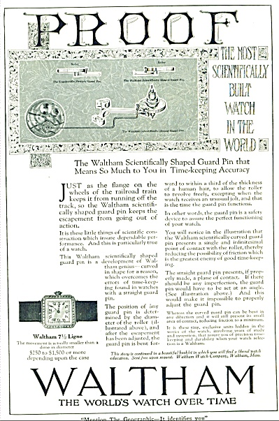 1920 WALTHAM WRIST WATCH WATCHES AD (Image1)