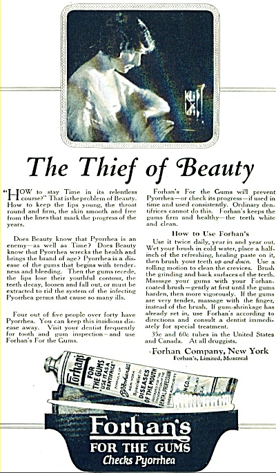 1920 Forhan's for the Gums AD Pyorrhead (Image1)