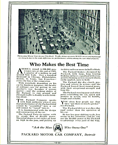 1920 PACKARD Motor CAR AD - MAIN STREET PHOTO (Image1)