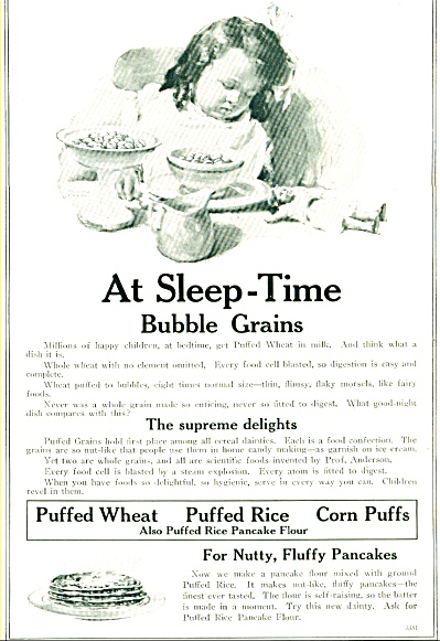 At Sleep Time Bubble Grains Ad - J192an. 1920