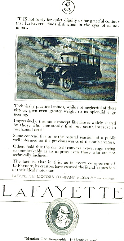 1920 Lafayette Motors company Vintage CAR AD (Image1)