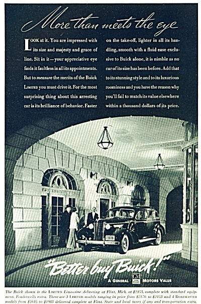 1920 BUICK CAR AD  LIMITED LIMOUSINE COOL (Image1)