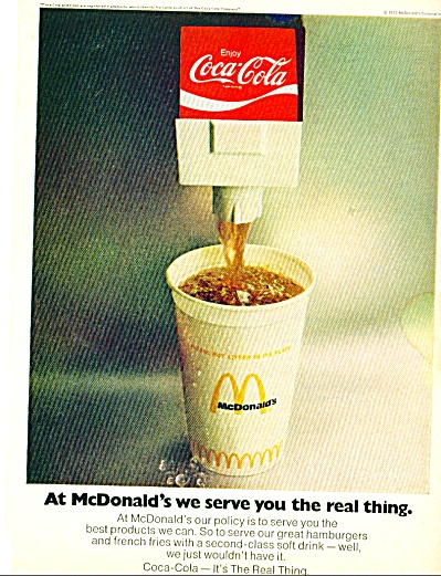 1973 Rare Trade Coke Coca Cola Mcd Ad