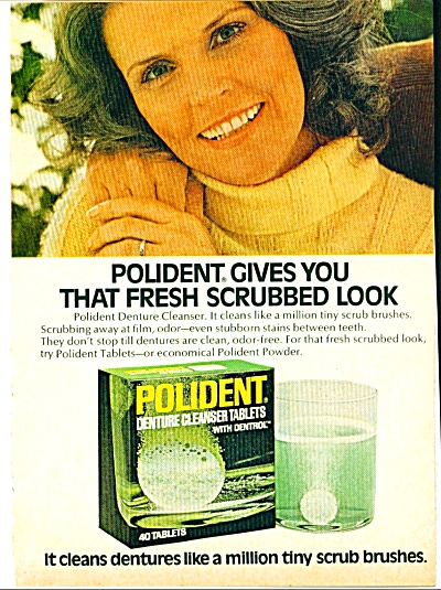 1972 Polident Denture Cleaner Tabs Ad