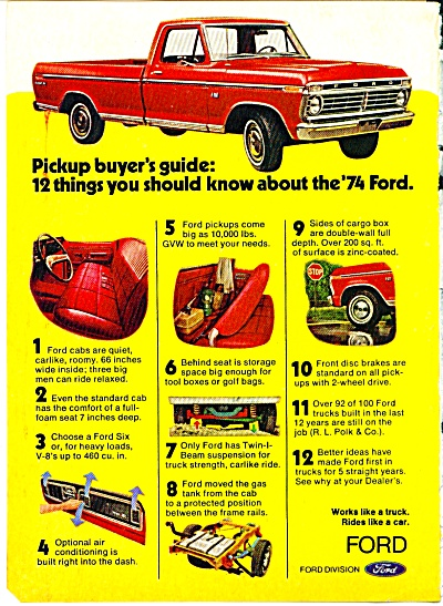 1974 Ford Truck Ad = COOL RED Pick Up (Image1)