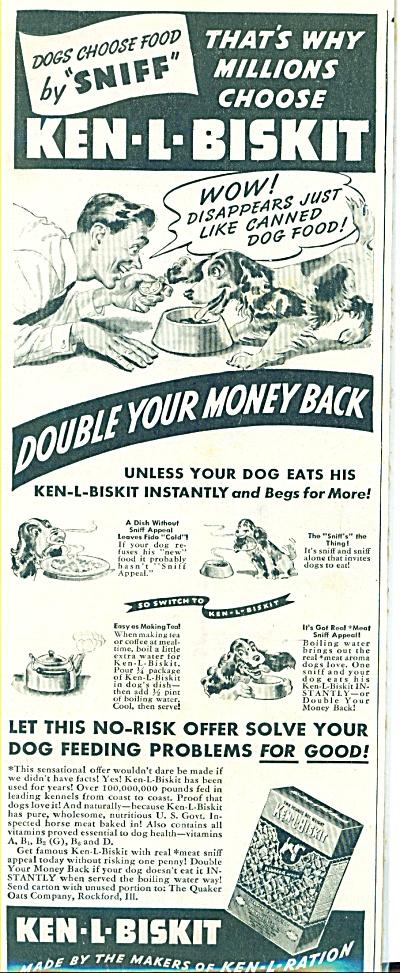 Vintage KEN-L-BISKIT SNIFF DOG FOOD AD (Image1)