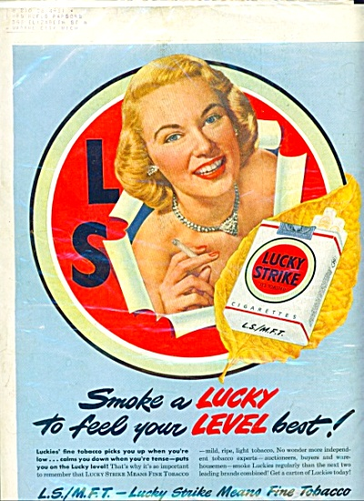 Vintage Lucky Strike Cigarettes Ad