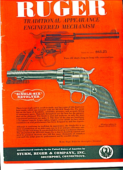 1955 RUGER GUN Sturm, Ruger & Company Ad (Image1)