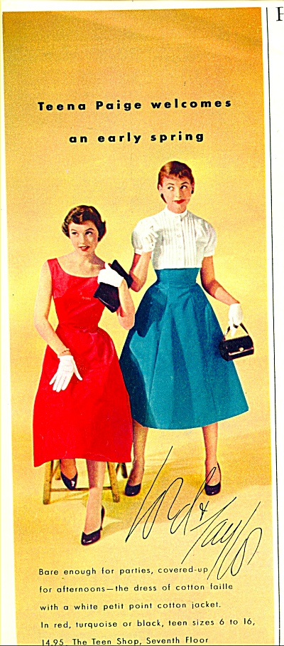 1950s Lord Taylor TEENA PAIGE Teen Fashion AD (Image1)