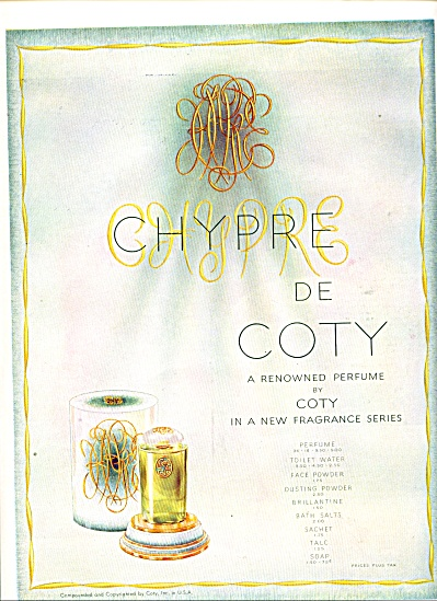 1930's de COTY CHYPRE PERFUME AD COINTREAU (Image1)