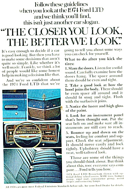 1974 FORD LTD 2PG CAR AD The Closer You Look (Image1)