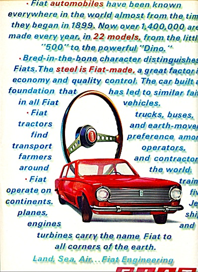 1969 Fiat Automobile Car AD COOL ORIGINAL (Image1)