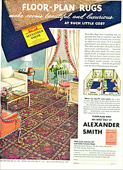 1938 Alexander Smith Rug Ad HARRIE WOOD ART (Image1)