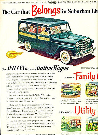 1953 WILLYS Deluxe Station Wagon Car AD (Image1)