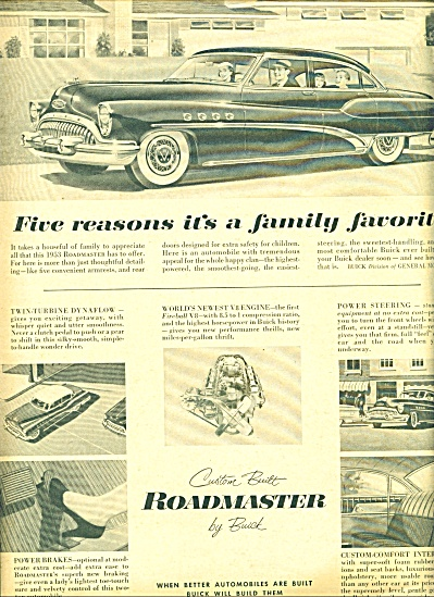 1953 Roadmaster Buick Ad TWIN TURBINE CAR (Image1)