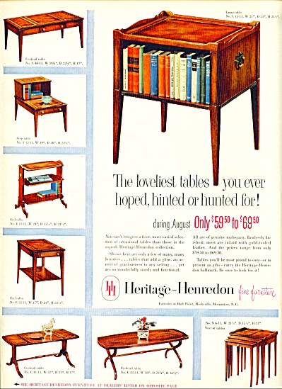 Captivating 1953 Heritage Henredon Fine FURNITURE AD (Image1)