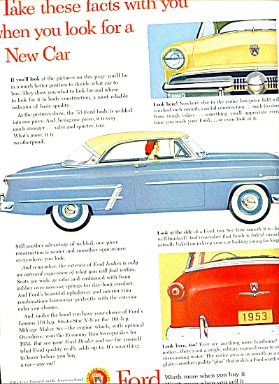1953 FORD MOTOR COMPANY CAR AD ORIGINAL (Image1)