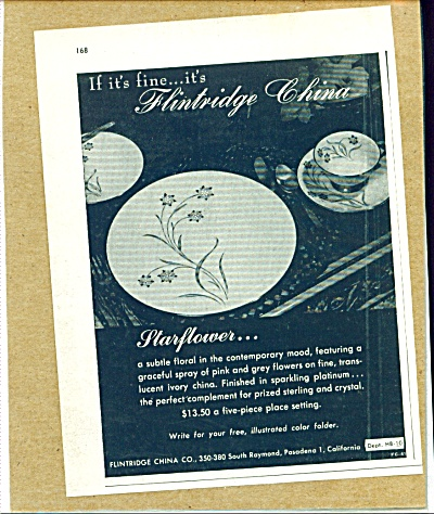1955 FLINTRIDGE CHINA Starflower Pattern AD (Image1)