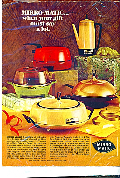 1973 Mirro Matic Aluminum Appliances Ad