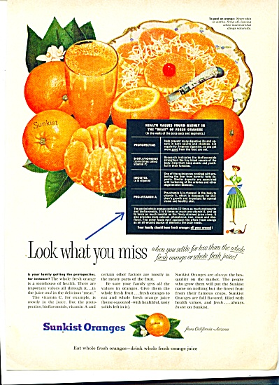 Sunkist Oranges Ad - September 1955