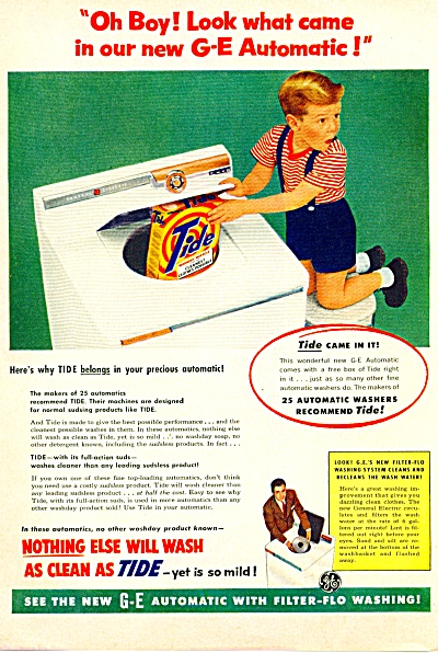 1955 TIDE Laundry Soap AD Shorts BOY in Washe (Image1)
