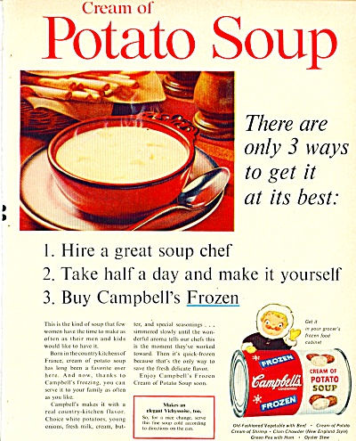 1961 Campbell's Cream of Potato SOUP AD (Image1)