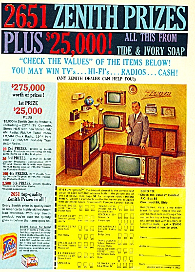 1961 Zenith Television - Radio Values Contest (Image1)