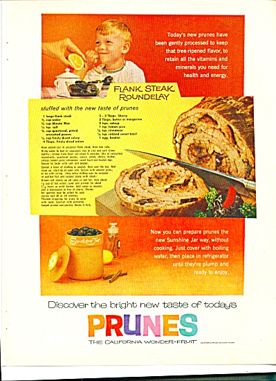 1961 PRUNES Flank Stead Rondelay Recipe AD (Image1)