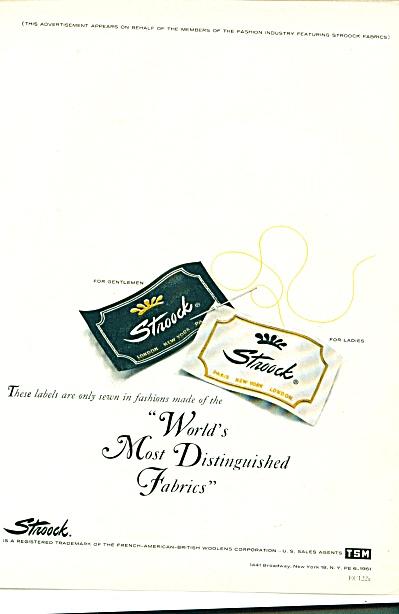 1961 Stroock Woolens Ad Fabrics TAG AD (Image1)