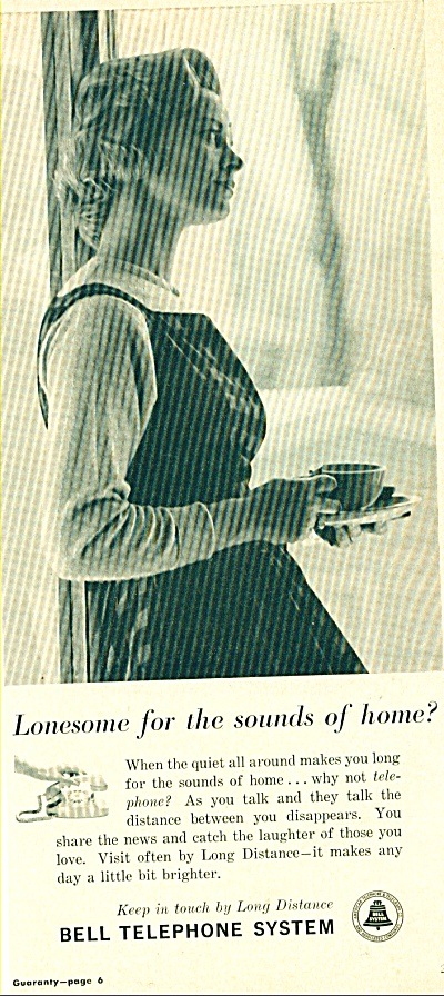 Bell Telephone System ad -  Nov. 1961 LONG DISTANCER (Image1)
