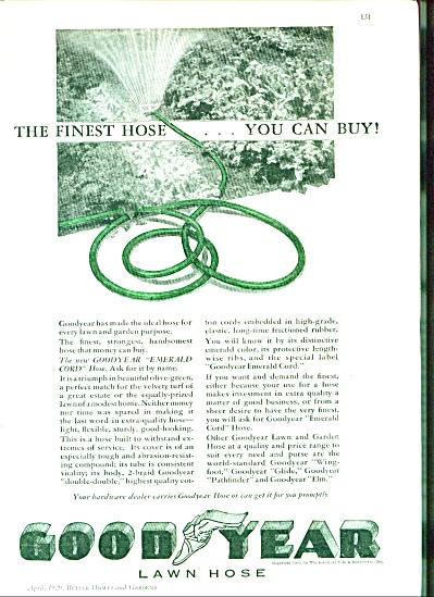 1929 Goodyear Lawn Hose Ad EMERALD CORD (Image1)
