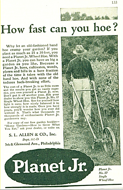 1929 PLANET JR. HOW FAST CAN YOU HOE Wheel AD (Image1)